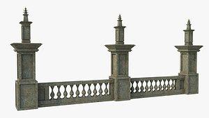 3D Ancient Pillar Fence