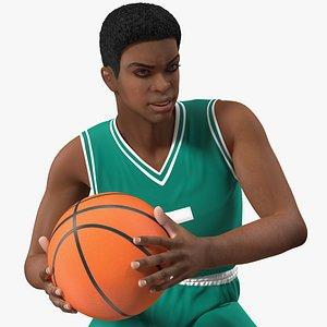 3D Light Skin Teenager Basketball Player Rigged