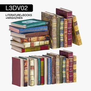literature vintage books 3D model