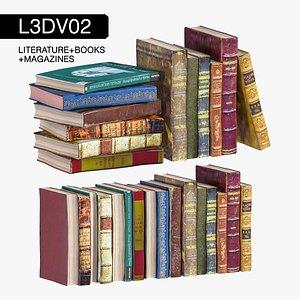 literature vintage books 3D model