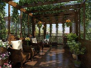 Indoor garden vine man yard ivy 3D model