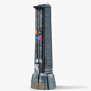 3D model Sci-Fi Futuristic Skyscraper PBR 02