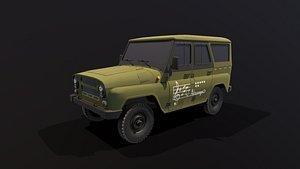 uaz hunter vehicle car wheel 3D model
