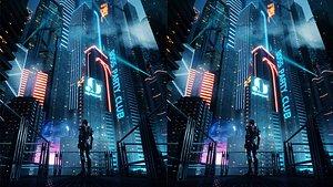 3D C4D Octane render CBD cyberpunk city model