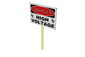 3D Danger high voltage Poster
