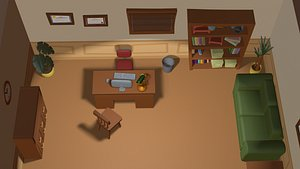 cartoon detective office 3D model