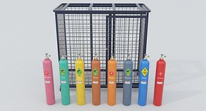 8-types of Industrial Gas Cylinders 3D model