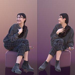 woman sitting interacting 3D model
