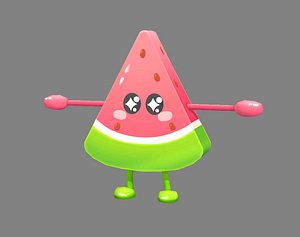 3D watermelon monster mascot model