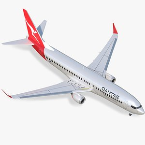 3D model boeing 737-800 qantas air lines