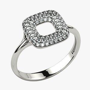3D Cushion Shape Pave Gems Fashion Gold Ring