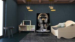 interor living decor room 3D model