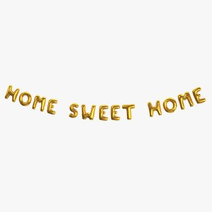 Foil Baloon Words home sweet home Gold 3D