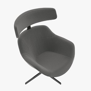 Cassina 277-12 Auckland Arm Chair Charcoal Leather Black Body 3D model