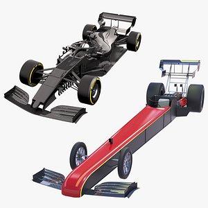 3D model F1 Race Car Formula 1 and Top Fuel Dragster
