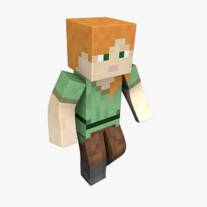 Alex Minecraft - Mixamo Animatable - Use your own Skin 3D