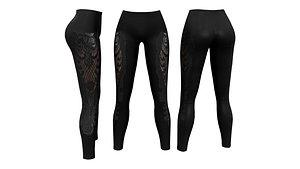 Skinny Pants Leggings with Applique 3D