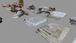 3D Paper Trash PBR Game Ready model
