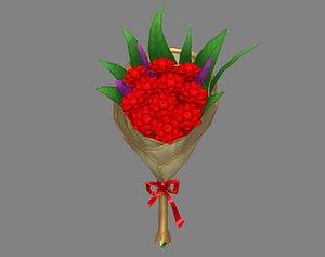 3D Cartoon red flower bouquet