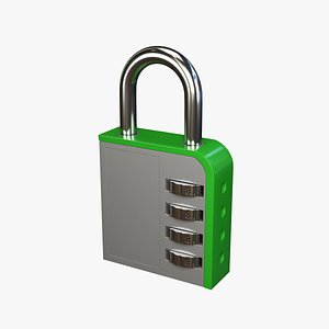 3D combination lock green