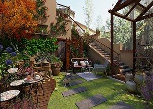 Villa garden upscale villa entrance garden backyard garden landscape courtyard villa garden upscale 3D