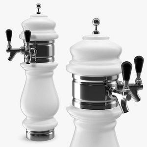 ceramic double faucet draft beer 3D model