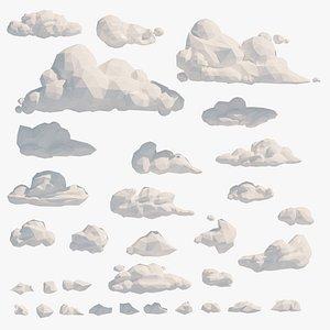 Lowpoly clouds Mega Pack model