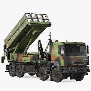 SAMP-T Medium Range Air Defense Missile System Rigged 3D model
