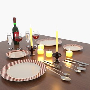 3D table set candle glasses