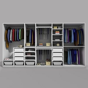 IKEA PAX WARDROBE 2 WITH CLOTHES 3D model