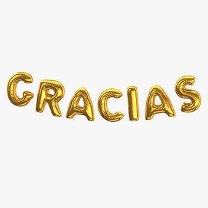 Foil Baloon Words GRACIAS Gold 3D model