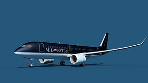 3D Bombardier CS100 Midwest Jet