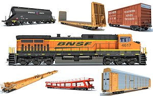 3D bnsf train freight
