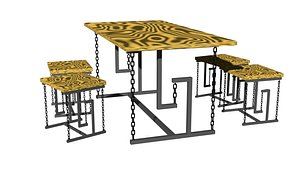3D Balance table witch chair