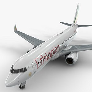 3D boeing 737-8 ethiopian airlines model