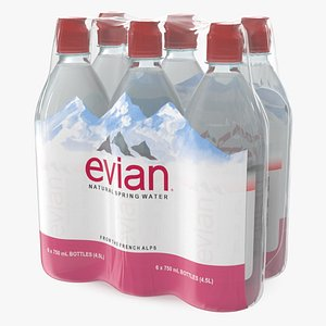 evian mineral water 750ml 3D model