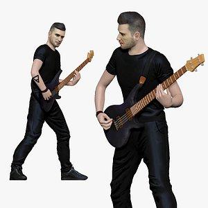 3D 001194 heavy metal bass player model