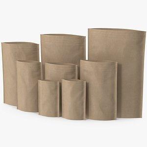 Zipper Kraft Paper Bags Open Mockup 3D model