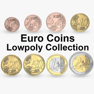 Euro Coins Lowpoly Collection PBR model