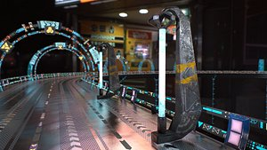 3D sci fi cyberpunk street light