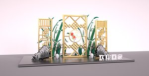 Screen rockery bamboo plum frame home DP Jing Jing exhibition gift home shopping mall group photo po 3D model