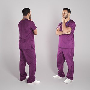 3D Pensive young medical doctor 305